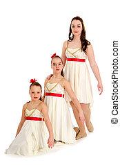 trio, tanz, drei, gleich, kostüm, schwestern