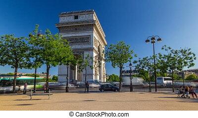 triomphe, ほとんど, de, 星, 記念碑, パリ, timelapse, 1(人・つ), 有名, 弧, ...
