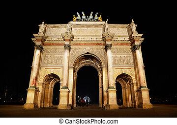 triomphe, パリ, de, 弧, 場所, du, 回転木馬, night.