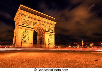 triomphe, パリ, de, 弧, 夜