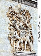 triomphe., 弧, moldings, france., paris., de