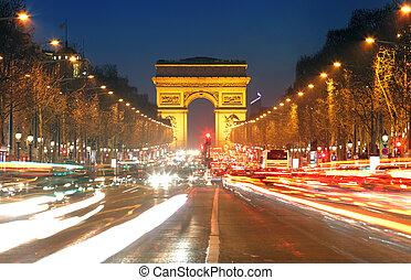 triomphe, 道, パリ, ライト, de, 弧