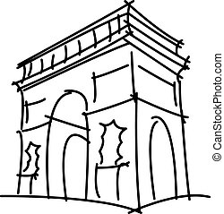 triomphe, arco, de, aislado, ilustración, vector, fondo ...