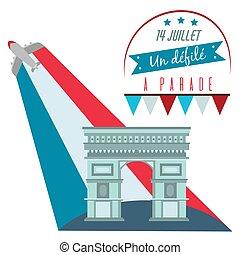 triomphe, arco, la, nacional, de, francia francesa, vector, ...