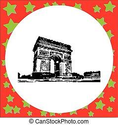 triomphe, arco, parís, de, aislado, ilustración, francia, ...