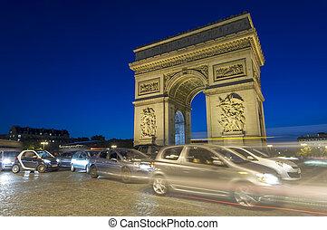 triomphe, cidade, paris, carros, de, cena, france., arco, tráfego, noturna