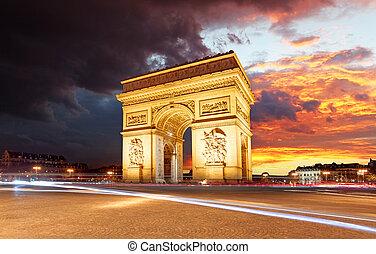 triomphe, cidade, paris, de, arco, pôr do sol