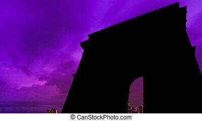 triomphe, coucher soleil, de, arc, parisien