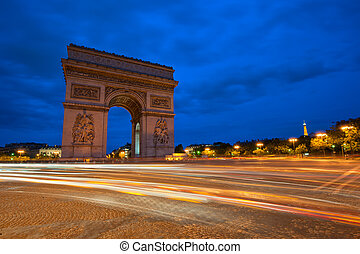 triomphe, de, パリ, フランス, 弧, 夜