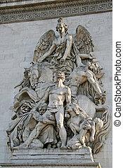triomphe, de, 細部, パリ, 弧, 建築である, l'etoile, フランス