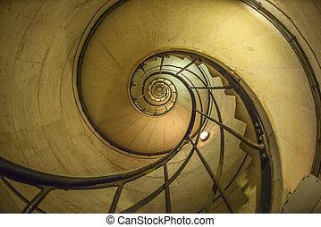 triomphe, de, arco, caixa espiralada escada