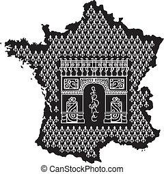 triomphe, de, arco, contorno, francia
