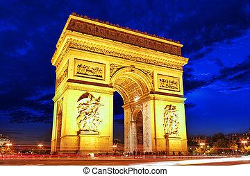 triomphe, de, arco, paris., francia