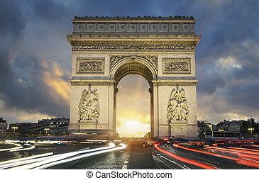 triomphe, de, famosos, arco, pôr do sol, vista
