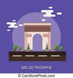 triomphe, de, ilustración, arco, diseño, conceptual