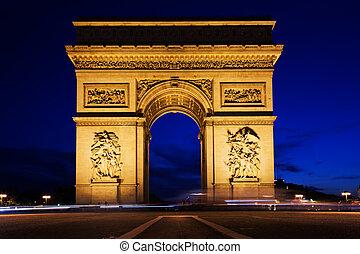 triomphe, de, parís, francia, arco, noche