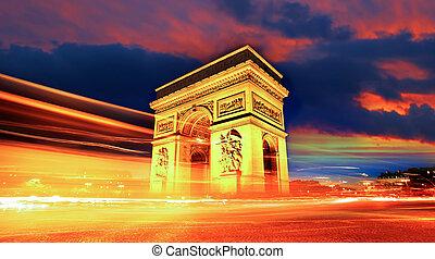triomphe, de, paris, frança, famosos, arco, noturna