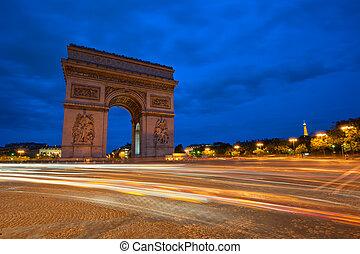 triomphe, de, paris, france, arc, nuit