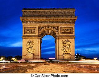 triomphe, de, paris, france., arco, noturna