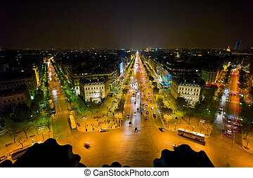 triomphe, de, paris, france., arco, vista