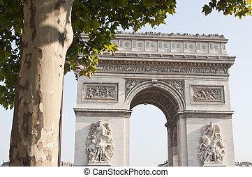 triomphe, de, paris, france., arco, vista