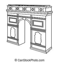 triomphe, edificio, estilo, arco, contorno, símbolo, de, web...