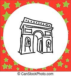 triomphe, europa, arco, garabato, marco, de, ilustración, ...