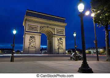 triomphe, karl, av, paris, frankrike, gaulle, båge, plats