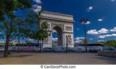 triomphe, la plupart, de, étoile, monuments, paris, timelapse, une, célèbre, arc, voûte triomphale, hyperlapse