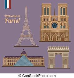 triomphe, locali, parigi, notre, viaggiare, eiffel, -, famoso, arco, louvre, torre, dama, set.