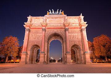 triomphe, noite, de, arco, tráfego, france), frente, (paris, champs-elysees-elysees
