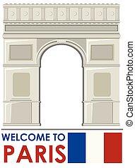 triomphe, parís, de, francia, arco, señal