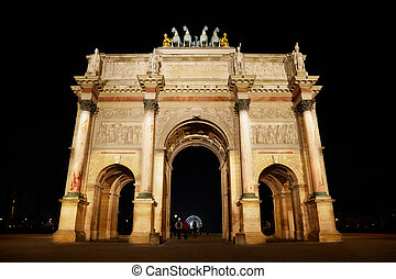 triomphe, paris, de, arco, lugar, du, carrossel, night.