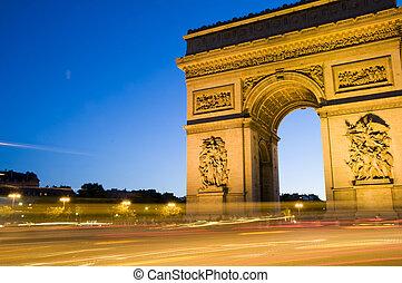 triomphe, paris, de, frança, arco, arco, triunfo