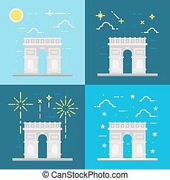 triomphe, plano, de, francia, arco, diseño