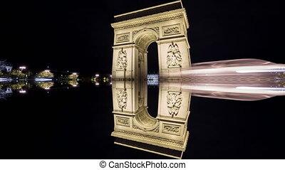triomphe, reflet, paris, défaillance, de, arc, 4k, temps,...