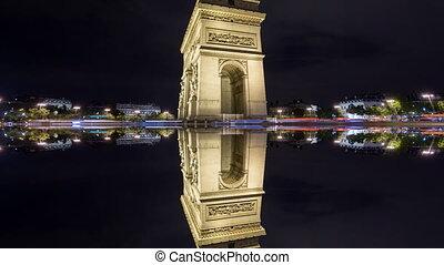 triomphe, reflet, paris, mystique, défaillance, de, arc, 4k, temps, nuit