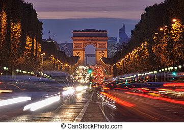 triomphe, tráfego, de, arco, paris