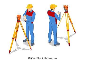 tripé, examinar, branca, theodolite, isometric, agrimensor, profissional, construção, isolado, equipamento, medidas, nível, experiência., theodolite., leva, ferramenta, medindo, engenheiro