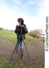 tripé, fotógrafo