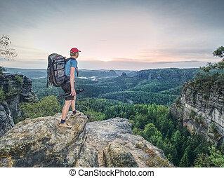 tripé, puro, profissional, cliff., fotógrafo, natureza, bonito