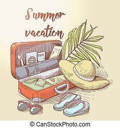 trip., été, bagage, vacation., arbre, leaves., illustration, main, exotique, vecteur, paume, dessiné, conception, plage