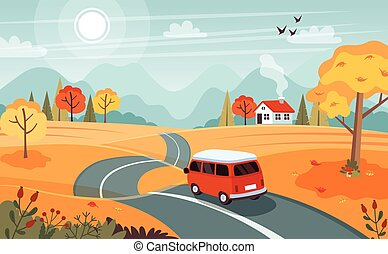 trip., דירה, טנדר, דוגמה, חמוד, וקטור, סיגנון, road., נוף, סתו