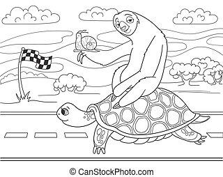 trip., ナマケモノ, speed., かたつむり, 3, 長い間, 旅行, 乗馬, went, turtle.,...