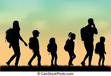 trip., バックパック, 家族, 手を伸ばす