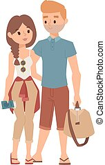 Trip abroad vector illustration. - Trip abroad happy young...