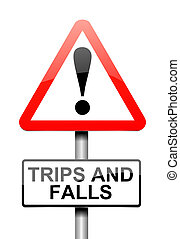 Trip and fall warning. - Illustration depicting a sign with...