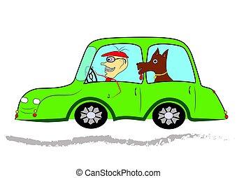 trip., andare, amici, cane, uomo