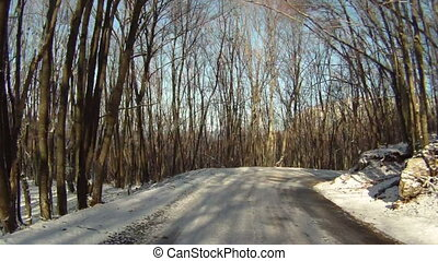 Trip by car in winter