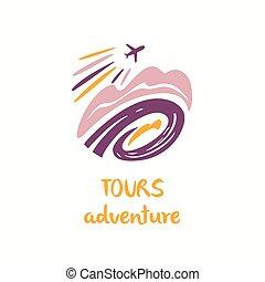 trip., company., airc, turista, viaggiare, illustrazione, vettore, logotipo